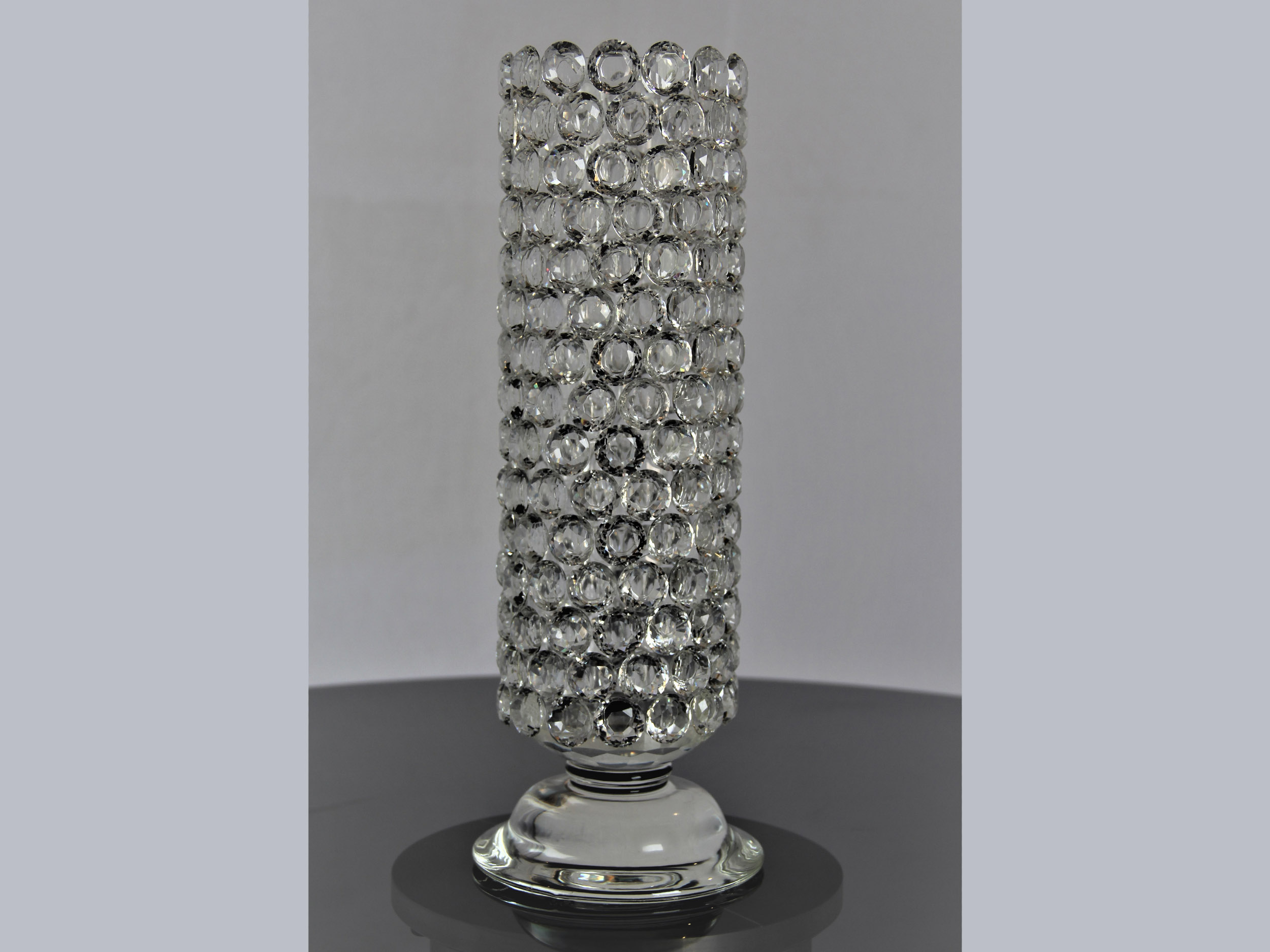 elegant vase home flower fullxfull crystal decor il vintage listing glass thumbprint